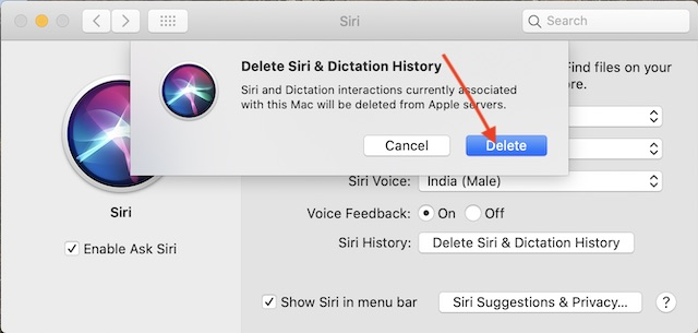 Confirm to Delete Siri history from Apple Servers