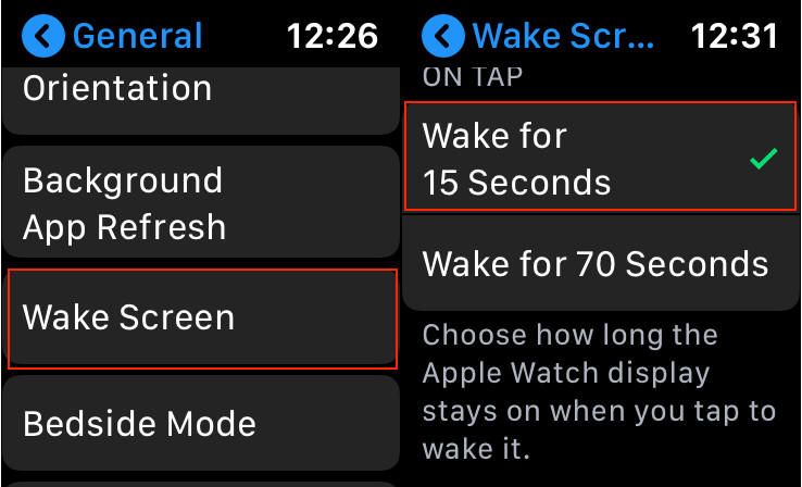 Decrease Auto Lock time on Apple Watch
