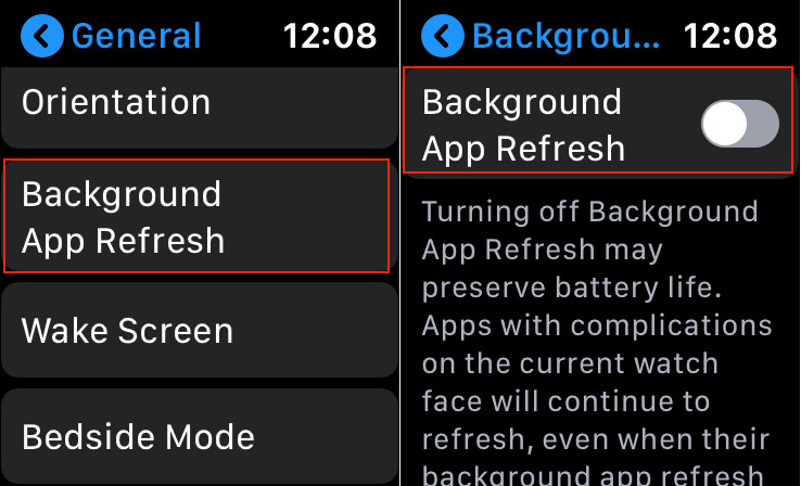 Disable Background Refresh on Apple Watch