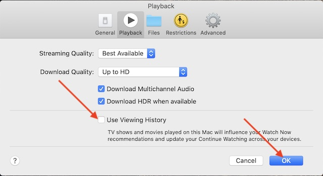 Disable Viewing History