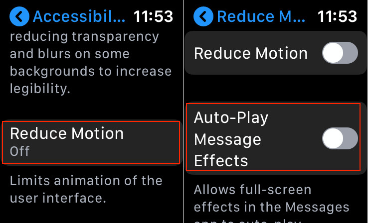 Disable iMessage Effects on Apple Watch