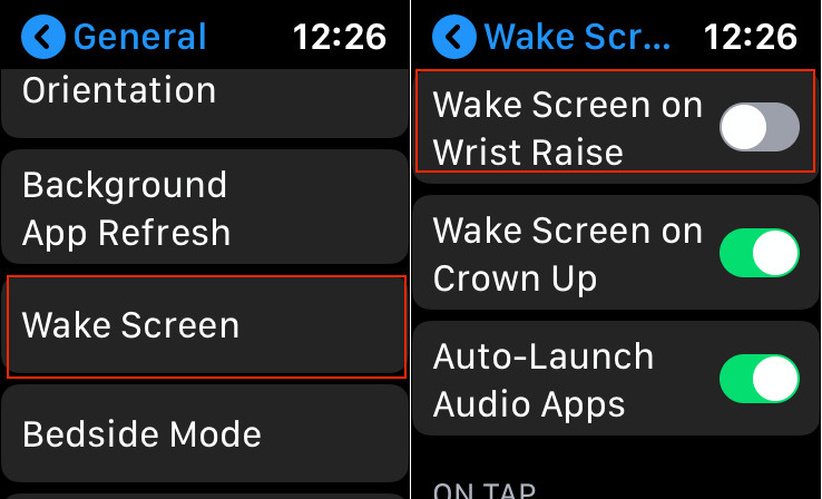 Disable wake screen on Apple Watch