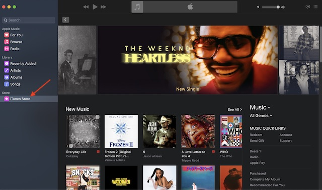 Display iTunes Store in Music app on Mac