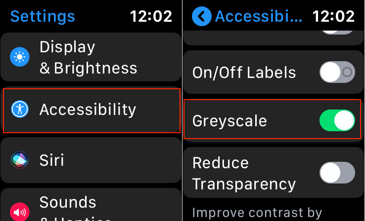 Enable Greyscale mode on Apple Watch