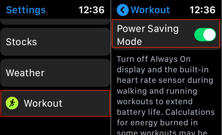Enable Power Saving Mode on Apple Watch