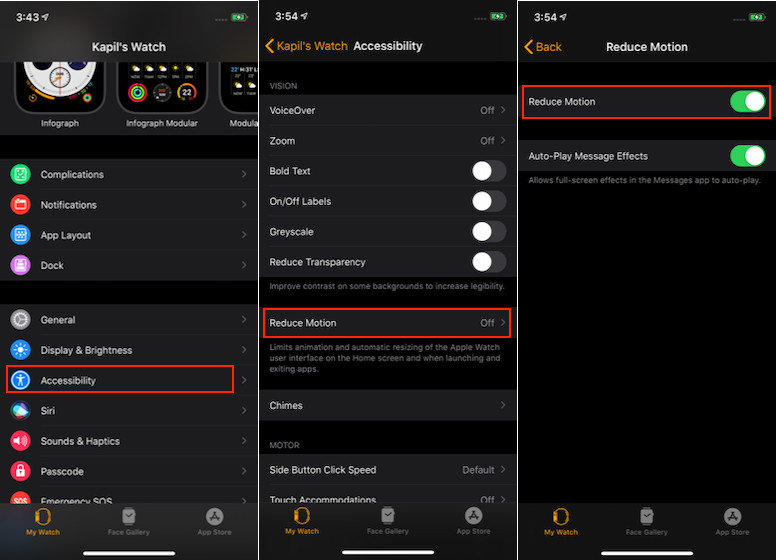 Enable Reduce Motion on Apple Watch