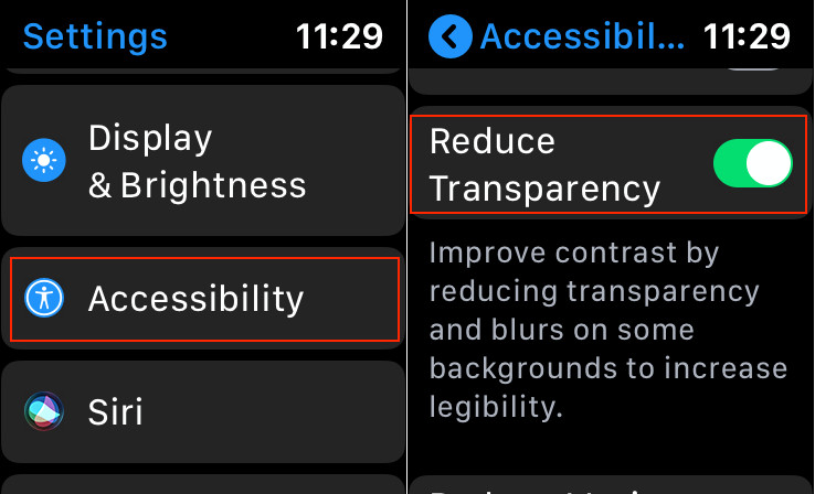 Enable Reduce Transparency on Apple Watch