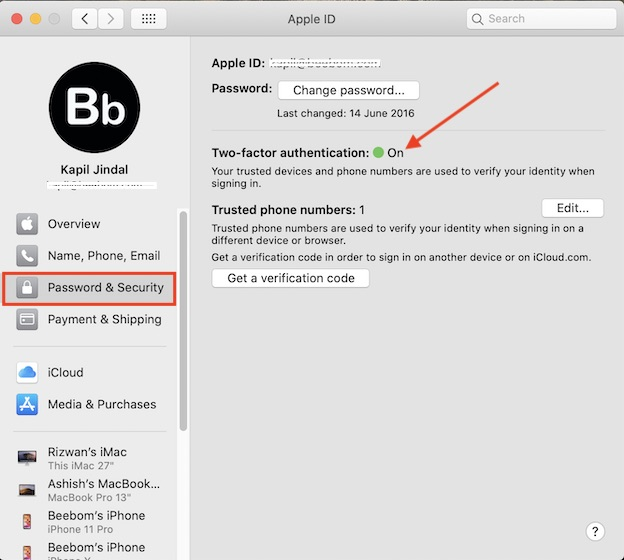 Enable Two Factor Authentication on Mac