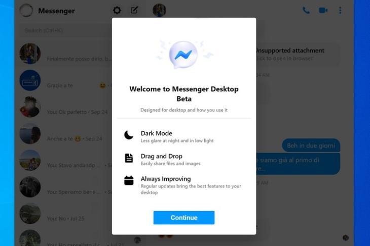 FB Messenger desktop website