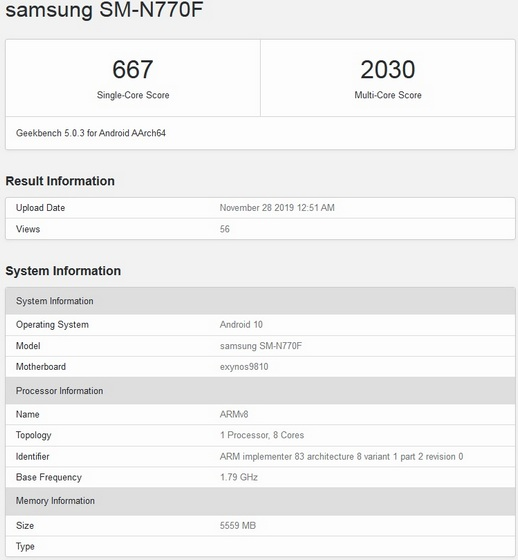 Galaxy Note 10 Lite Geekbench body