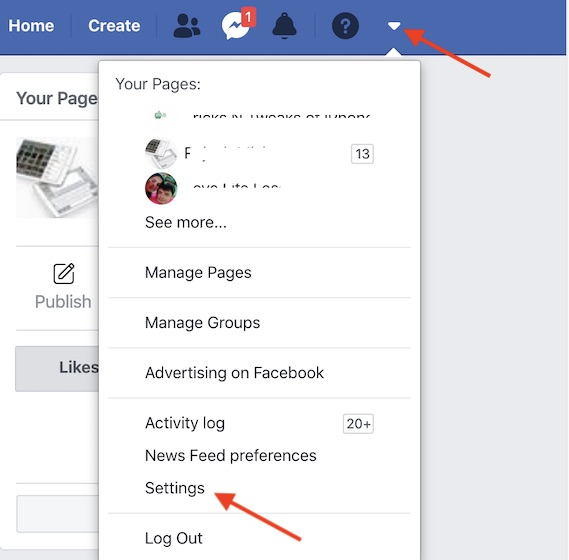 Go to Facebook Settings on the web