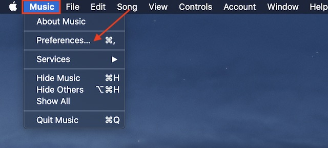 Next, click on the Music menu and select Preferences option in the menu