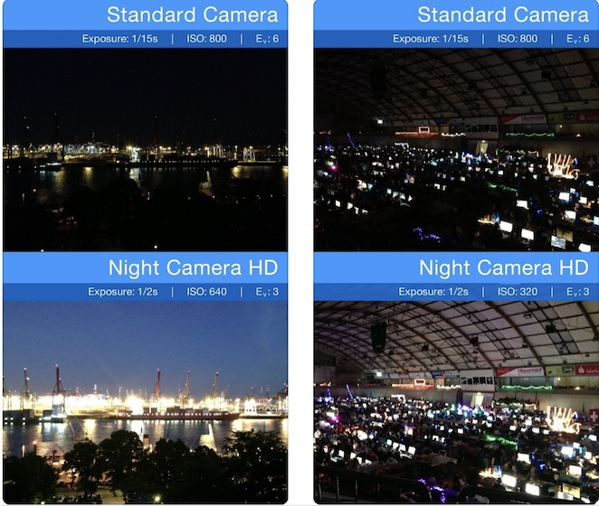 Night time shots from Night Camera HD