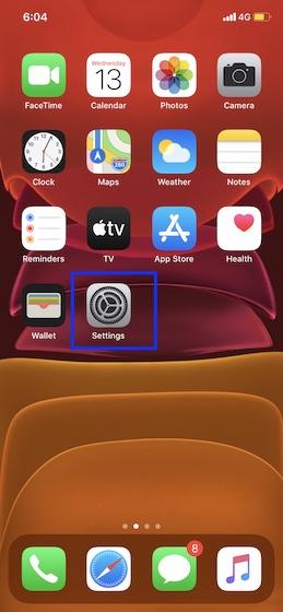 Open Settings app