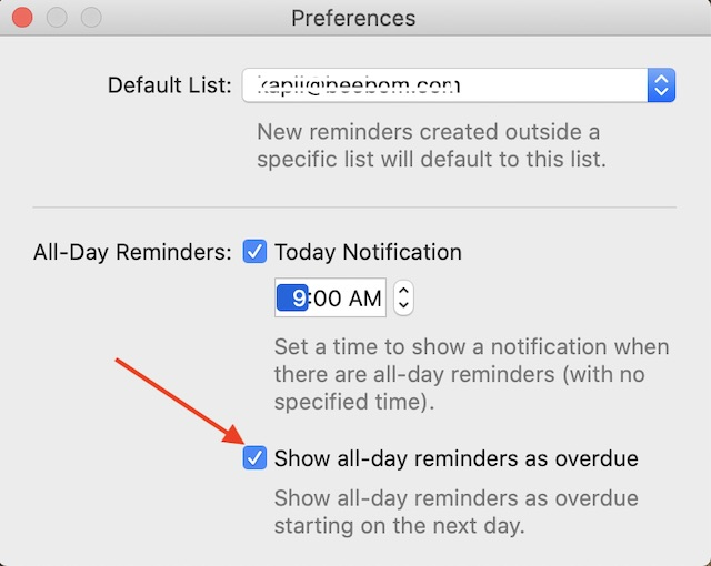 Show All Day Reminders as overdue
