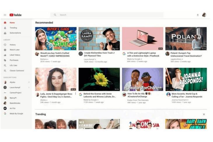 YouTube homepage redesign website