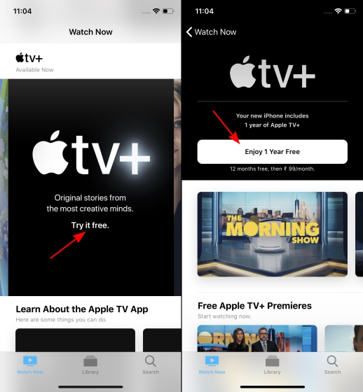 free apple tv+ subscription