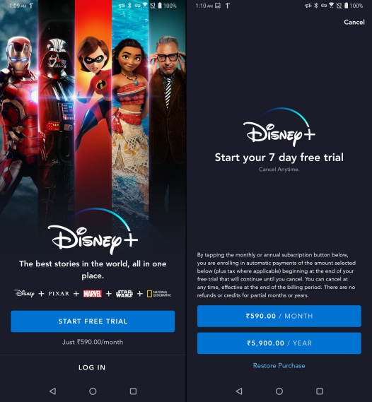disney+ homescreen and payment screen - disney+ india prices