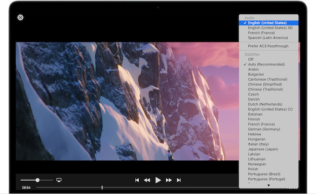 Change Subtitle or Audio Language in Apple TV App on Mac