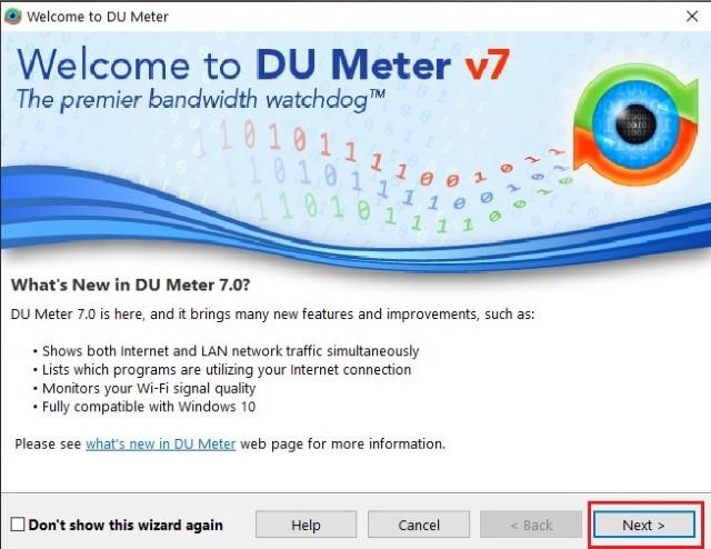 setup page DU Meter