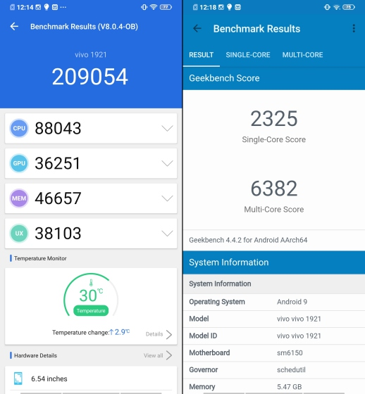 vivo u20 benchmarks