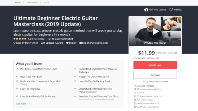 4 Best Guitar Courses Online on Udemy
