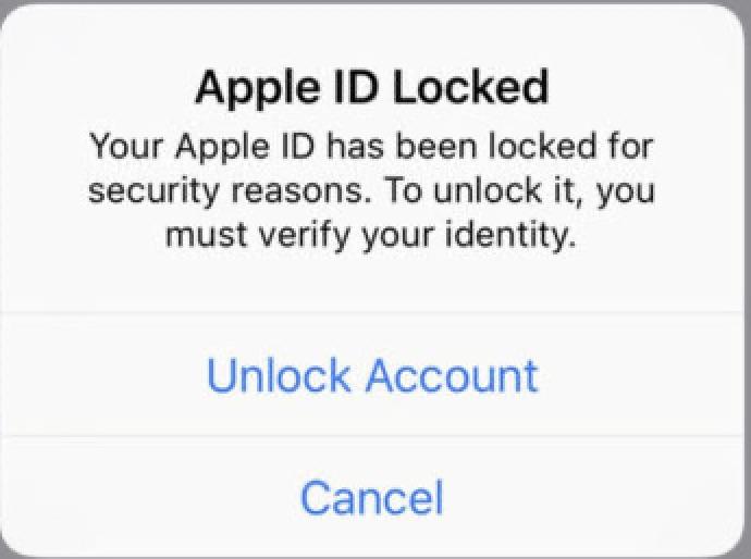 Apple ID is Locked Popup