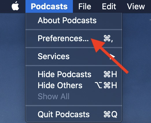 Choose Preferences in Podcasts menu