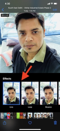 Choose live photo effect