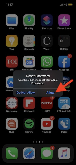 Click on Allow to reset your Apple ID password