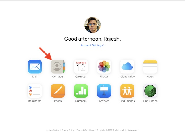 Click on Contacts icon in the iCloud
