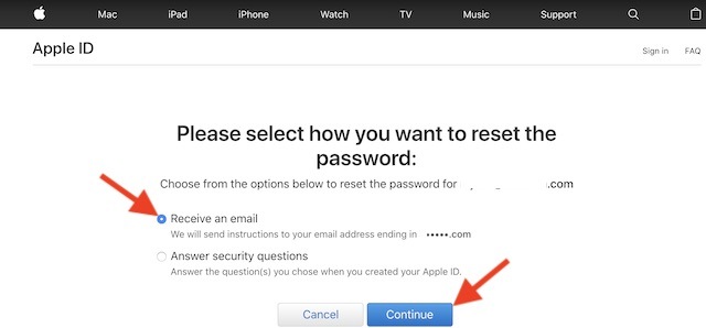 Click on Continue to reset your passwords using email