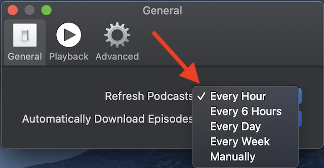 Customize Refresh in Podcasts