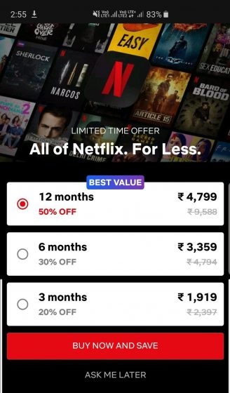 Netflix long-term subscription