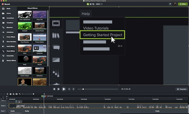 Edit screen recording using Camtasia