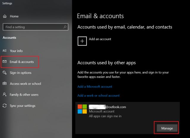 remove microsoft account