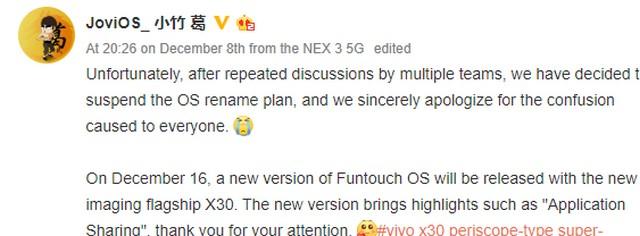 Vivo Suspends Plans to Rebrand FunTouch OS to JoviOS