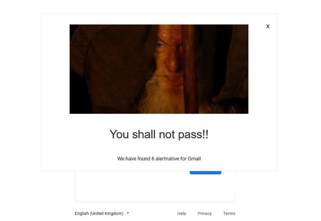 Не позволяя использовать Gmail