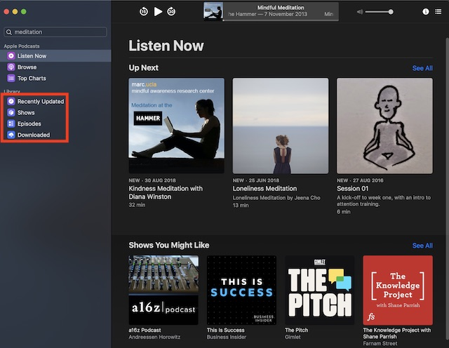Open Library in Podcasts app on Mac