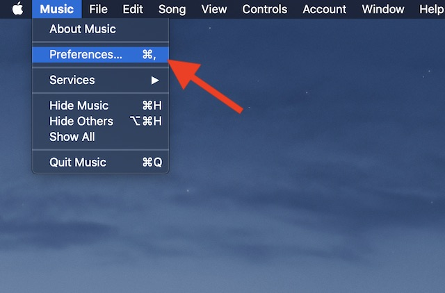 Select Preferences under Music menu