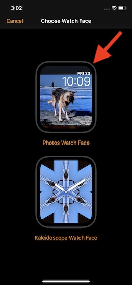 Select photos watch face
