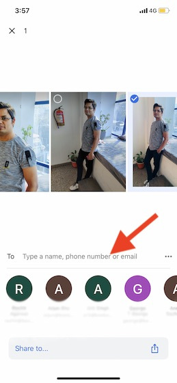 Sharing Photos using direct message on Google Photos