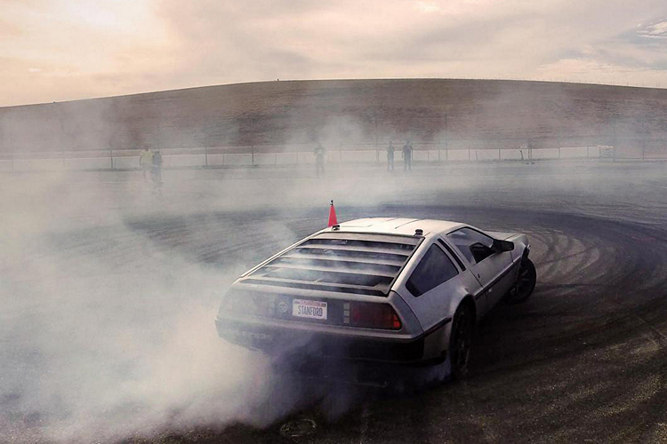 Watch MARTY, a Driverless DeLorean Car Drift a Challenging Track