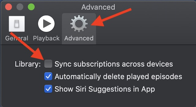 "uncheck the box to the left of ""Sync subscriptions across devices."""