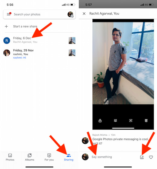 Use Private messaging in Google Photos