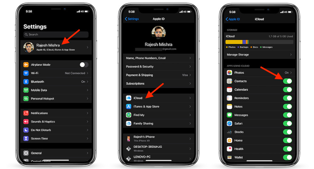 iCloud sync for Contacts on iOS