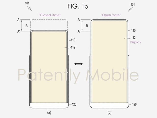 samsungs patent for stretchable display showing open and closed states