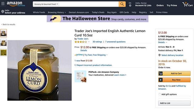trader joe lemon card listing
