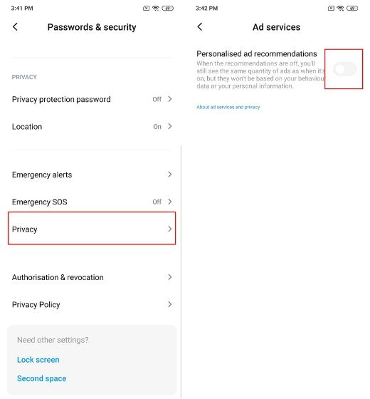 2. Disable Ads in System Apps and Settings in MIUI 11 2