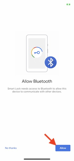 Allow Bluetooth access
